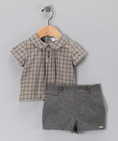 Take a look at this Pili Carrera Brown Peter Pan Top & Shorts - Infant & Toddler by Warm & Cozy: Apparel & Accents on #zulily today!