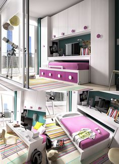 This compact and functional set from Rimobel Furniture, Spain, will definitely look cool and funky in your child's or teen's bedroom #sohomod