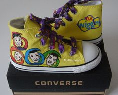 FOR JACK! The Wiggles Hand Painted on Yellow Converse COP16 by MYDIAMONTE, $129.00