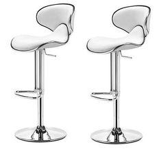 White PU Leather Breakfast Bar Stools 2Pc Swivel Kitchen Chair Gas Lift Metal   #SmartDealsMarket #ArtDeco