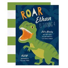 Dino Birthday Party Invite Dinosaur Birthday Invitations, Dinosaur Birthday Party, Birthday Balloons, First Birthday Parties, Birthday Party Themes, First Birthdays, Birthday Ideas, Navy Birthday, Fourth Birthday