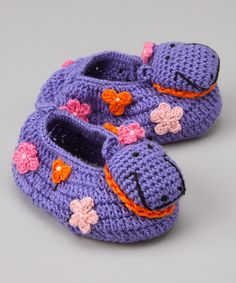 Take a look at this Purple Hippo Crochet Booties by Best of Chums on #zulily today!