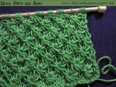 How To Knit Daisy Flower Stitch aka Aster Stitch (Similar To Star Stitch)