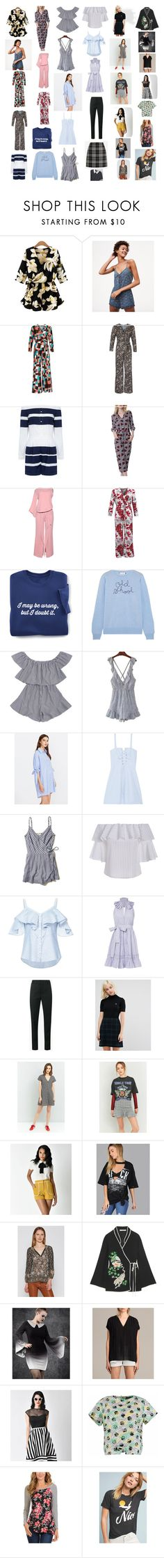 """""""More Misc. Clothing"""" by mikahelaine ❤ liked on Polyvore featuring WithChic, LOFT, 10 Crosby Derek Lam, Lingua Franca, Solid & Striped, Hollister Co., Veronica Beard, Alexis, Yves Saint Laurent and Fred Perry"""