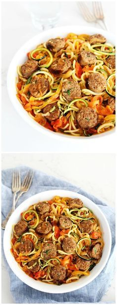 Sausage and Peppers with Zucchini Noodles Recipe on twopeasandtheirpo. Sweet and spicy Italian sausage with peppers, onions, and zucchini noodles in a simple garlic tomato sauce. This quick and easy dinner is a family favorite! quick and easy meals Zucchini Noodle Recipes, Zoodle Recipes, Spiralizer Recipes, Paleo Recipes Zoodles, Recipes With Veggie Noodles, Paleo Sausage Recipes, Meat Recipes, Low Carb, Healthy Foods