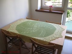 "This tablecloth measures 140x120 cm and used up almost 0.5 kg of ""Camilla"" thread from the Czech Republic. I used knitting needles size 3 mm. The pattern is ""Blätterreigen"" taken from """"Elsa Sonderheft, 3044: Kunststrickheft"" which was published in 1959."