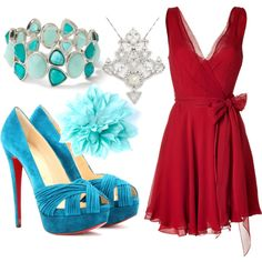 Red & Turquoise Bridesmaid Outfit