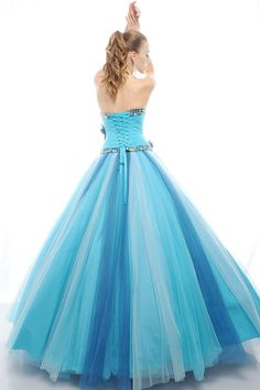Latest Styles Beaded Detachable Blue Quinceanera Dresses