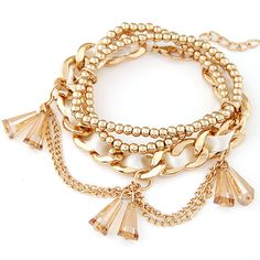 Zinc Alloy Bracelet Set, with Crystal, gold color plated, charm bracelet & faceted, lead & cadmium free, 175mm, Length:Approx 6.89 Inch, 3Strands/Set, Sold By Set