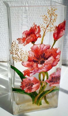 Simple and Stylish Ideas Can Change Your Life: Small Clear Vases vases rose mariage.Round Vases vases centerpieces with balloons.What To Do With Old Vases. Painted Glass Vases, Painted Wine Glasses, Stained Glass Paint, Stained Glass Patterns, Bottle Painting, Bottle Art, Red Glass, Glass Art, Glass Painting Designs