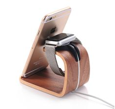 New Original Wooden Watch iWatch Charging Stand Phone Holder Light Brown Dark Brown