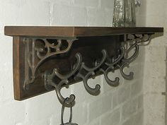 Reclaimed look wood Hat&Coat Rack with shelf Cottage Vintage with wall brackets