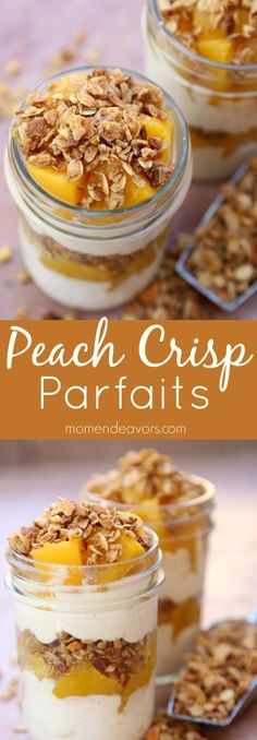 Peach Crisp Parfaits - made in 5 minutes with less than 5 ingredients, these peach parfaits are a great breakfast, dessert, or snack option that you can feel good about! FruitOnDemand AD @DoleSunshine