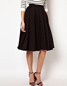 ASOS Full Midi Skirt with Box Pleats