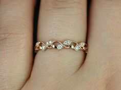 Daphine 14kt Rose Gold Thin Weaving Leaves Diamonds by RosadosBox