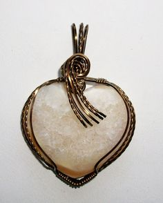 Agate Druzy Pendant in Antique Bronze Wire by JoaniesCreations