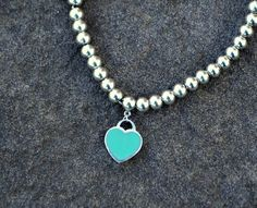 23c6e6f66d SOLD - Return to Tiffany Blue Enamel Heart Charm Mini Ball Bead Bracelet  with Pouch. Heart measures and beads are Call or visit FoundationJewelry on  Etsy