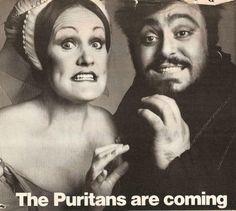 Luciano Pavarotti and Joan Sutherland promoting their legendary I Puritani, at the Metropolitan Opera, OperaQueen Opera Music, Opera Singers, Coloratura Soprano, Divas, Joan Sutherland, World Movies, Metropolitan Opera, Music Pictures, Famous Faces