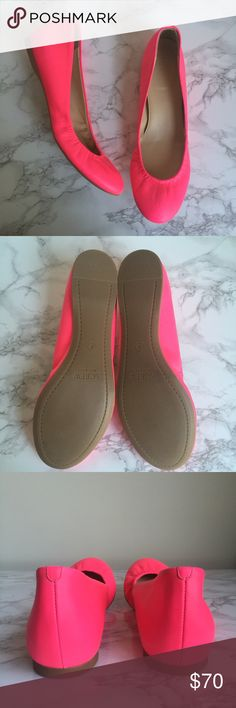 J. CREW Cece Ballet Flats These J. Crew flats are in excellent condition and are hot/neon pink. They have a cushioned insole for maximum comfort, a rubber sole for maximum flexibility and an elasticized detail so they hug your feet, they're as comfortable as they are good looking. J. Crew Shoes Flats & Loafers
