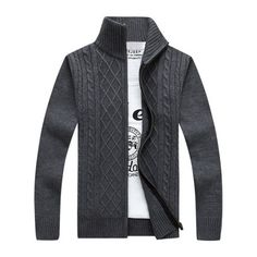 29.39$  Buy now - http://didz7.justgood.pw/go.php?t=198806901 - Stand Collar Zipper-Up Cable Knitted Cardigan 29.39$