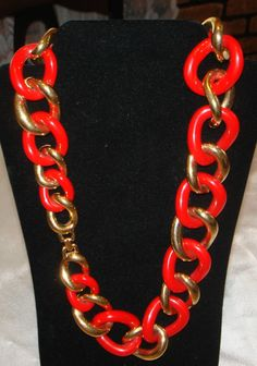 Vtg Givenchy Necklace Paris Couture Runway Gold Tone Links/Red Plastic Rings 24' #Givenchy #necklace