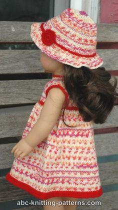 ABC Knitting Patterns - American Girl Doll Carolina Summer Dress