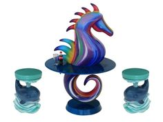 BJM0021 - Beautifully Painted Sea Horse Table & Funny Cute Whale Stools - BJM0021 - Beautifully Painted Sea Horse Table & Funny Cute Whale Stools.jpg