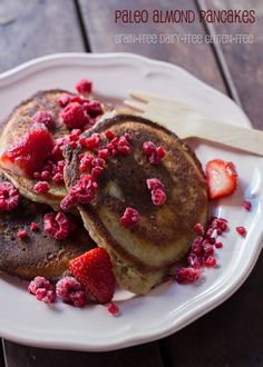 Paleo Almond Pancakes with Berries or Bacon! (gluten-free, dairy-free, grain-free)