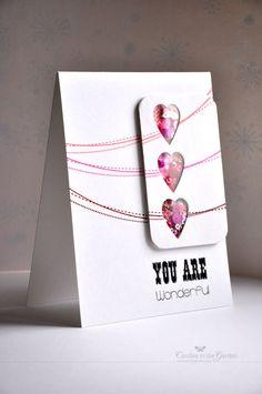 CAS(E) this Sketch #33. Die-cut hearts shaker card.