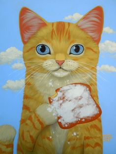 """Yellow Tabby and Beignet"" by Cary Chun Lee; various products and prices"