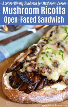 Treat yourself to this tasty Mushroom Ricotta Open-Faced Sandwich! This hot open faced sandwich is crave-worthy mushroom ricotta recipe you're sure to love! Vegetarian Sandwich Recipes, Veggie Recipes Healthy, Veggie Sandwich, Veggie Wraps, Vegetarian Dinners, Delicious Recipes, Portobello, Sandwich Melts, Panini Sandwiches
