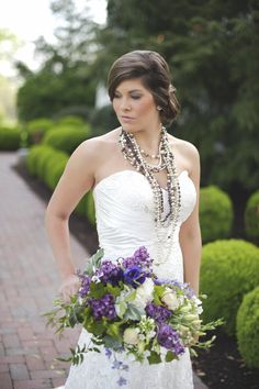 Purple and green bridal bouquet by #BlushFloralDesignStudio and multi strand pearl necklace | Magnolia Street Photography | see more on: http://burnettsboards.com/2014/09/blackberry-green-wedding-inspiration/