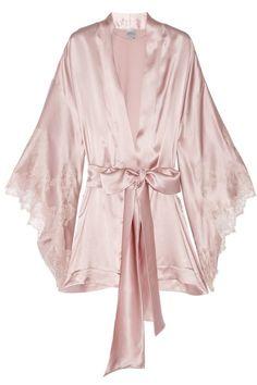 Image detail for -Thème Louise lace-trimmed silk-satin kimono robe by jerri
