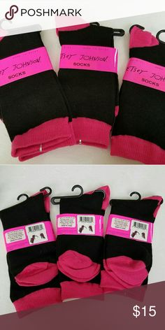 3 Pair Betsey Johnson Pink and Black Trouser Socks You are purchasing 3 Pairs of brand new Betsey Johnson  Trouser Socks. Pink and Black in color.  They retail for $10 a pair. Bright socks are in! Get yours now! Betsy Johnson Accessories Hosiery & Socks