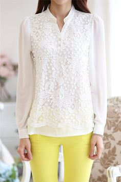2017 New High quality Lace Blouse Beading Crochet White Long Sleeve Chiffon Shirt Feminine Income Plus Women's Clothing Plus Womens Clothing, Women's Clothing, Casual Skirt Outfits, Chiffon Shirt, Sleeveless Blouse, Summer Shirts, Ladies Dress Design, White Long Sleeve, Shirt Blouses