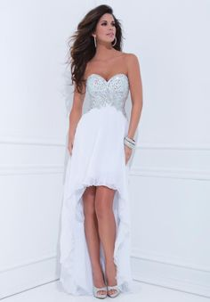 High Quality Sweetheart Chiffon Pleated Bead Crystals White Pretty High Low Prom Dress.jpg 600×862 pixels