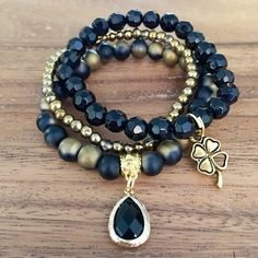 Black Gold Hematite Faceted Beads Gold Bracelets Stack Handmade Beaded Jewelry Leaf Charm Druzy by CharmedStacks on Etsy https://www.etsy.com/listing/566781506/black-gold-hematite-faceted-beads-gold