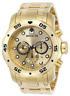 1044 Invicta Men's 0074 pro Diver Analog Japanese Quartz 18k Gold-plated Stainless Steel Watch