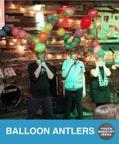 Balloon Antlers – such a fun game. Give teams a set of leggings, and some balloons, and whoever can get the best set of antlers in 5 minutes wins. You don't need helium to make them stand up like that. They do it automatically because of the tension. Great game! Photo by @ccfoursquareyouth View original …