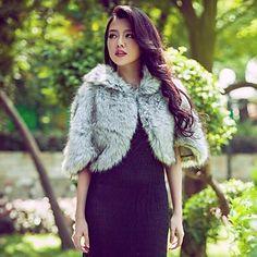 Fur Wraps Half Sleeve Grey Faux Fur Party/Casual Wrap – USD $ 34.99