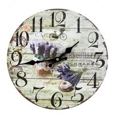 Nástenné hodiny kytica levandule B 30cm Car Car, Clock, Wall, Home Decor, Watch, Decoration Home, Room Decor, Clocks, Walls