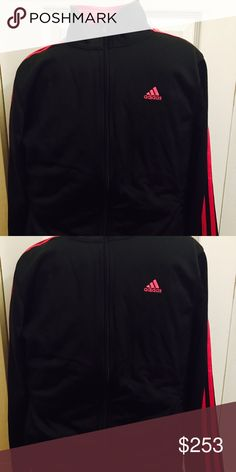Black and ponk adidas sweater Black and pink adidas sweater. Great for casual wear of work outs! Comfy on you and on your wallet! Negotiable price. Adidas Sweaters