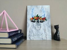 Items similar to Cute Lama Acrylic Painting Animal Alpacca Funny Art and Fresh Art Gift for Animal Lovers on Etsy Antique Shops, Funny Art, Animal Paintings, Good News, Anna, Etsy Shop, Antiques, Unique Jewelry, Handmade Gifts