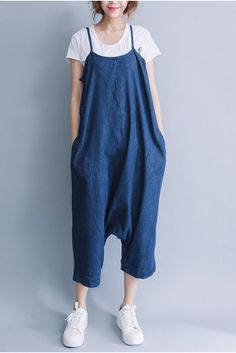 Summer Blue Casual Loose Overalls Trousers Cowboy Pants Women Clothes P0810