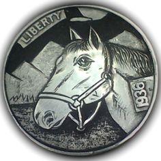 DIMAS SÁNCHEZ MORADIELLOS HOBO NICKEL - HORSE - 1936 BUFFALO NICKEL Hobo Nickel, Coin Collecting, Chile, Buffalo, Folk Art, Cactus, Skull, Carving, Horses