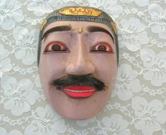 Balinese Dance Mask - Hand-Carved Hand-Painted Wall Art by SandraDestash, $35.00