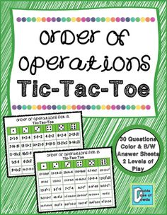 Order of Operations Tic-Tac-Toe game