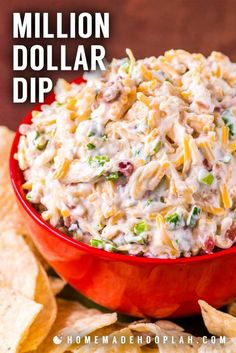 Million Dollar Dip! Also called Neiman Marcus Cheese Dip, this almond, bacon, and cheese recipe started out as a spread and quickly become a crowd-pleasing million dollar dip that's lasted the test of time. It's perfect for making in advance… Cold Dip Recipes, Cheese Dip Recipes, Cheese Appetizers, Yummy Appetizers, Appetizers For Party, Easy Party Dips, Easy Dip Recipes, Snacks For Party, Pretzel Dip Recipes