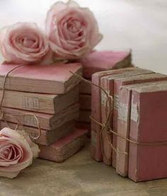 so pretty...old books, parisian roses and pink