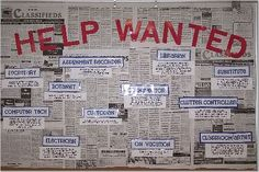Help wanted bulletin board listing classroom jobs. Kids fill out applications with their top 3 choices and reasons why they'd be good at the jobs. Cool look into real world. Great interactive activity on responsibility as well.
